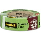 """Scotch General Painting Masking Tape - 60.1 yd (55 m) Length x 1.42"""" (36 mm) Width - Rubber - Paper Backing - Residue-free - 1 Each - Green"""