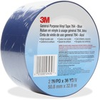 "3M General Purpose 764 Vinyl Tape - 36 yd (32.9 m) Length x 2"" (50.8 mm) Width - Vinyl, Rubber - 4 mil - Polyvinyl Chloride (PVC) Backing - Residue-free, Flexible, Removable, Comfortable - 1 Each - Blue"