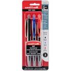 uni-ball 307 Skip-Free Retractable Pen - Medium Pen Point - 0.7 mm Pen Point Size - Retractable - Assorted Gel-based Ink - Black Barrel - 3 / Pack