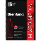 "Bienfang Drawing Pad - 40 Sheets - Spiral - 90 lb Basis Weight - 12"" (304.80 mm) x 9"" (228.60 mm) - Black Cover - Textured, Acid-free, Yellowing Resistant, Erasable - 1Each"