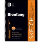 "Bienfang Sketch Book - 100 Sheets - Spiral Bound - 50 lb Basis Weight - 14"" (355.60 mm) x 11"" (279.40 mm) - White Paper - Acid-free, Textured - 1Each"