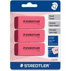 Staedtler Manual Eraser - Pink - 3 / Pack - PVC-free, Beveled Edge, Smudge Resistant, Latex-free