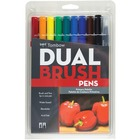 Tombow Dual Brush Art Pen 10-piece Set - Primary Colours - Fine Marker Point - Assorted Water Based Ink - 10 / Set