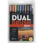 Tombow Dual Brush Art Pen 10-piece Set - Muted Colours - Fine Marker Point - Brush Marker Point Style - Burnt Sienna, Hunter Green, Navy Blue, Cool Gray, Black, Chocolate, Dark Plum, Yellow Gold, Wine Red Water Based Ink - Nylon Tip - 10 / Set