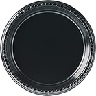"Solo Sturdy Plastic Plates - 9"" (228.60 mm) Diameter Plate - Plastic - Disposable - Black - 25 Piece(s) / Pack"