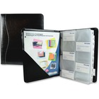"""Winnable Large Leather Business Card Binder - 200 Capacity - 9.50"""" (241.30 mm) Width x 12"""" (304.80 mm) Length - 3-ring Binding - Black Genuine Leather Cover"""