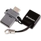 Verbatim 64GB Store 'n' Go Dual USB Flash Drive - 64 GB - Micro USB, USB 2.0 - Lifetime Warranty - TAA Compliant