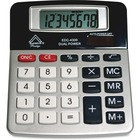Aurex 8-digit Compact Desktop Calculator - Big Display, Easy-to-read Display, Dual Power, Fixed Angled Display, Compact - Silver, Black - 1 Each