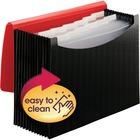 "Smead Wave Pattern Poly 12-pocket Expanding File - Letter - 8 1/2"" x 11"" Sheet Size - 12 Internal Pocket(s) - Polypropylene - Red, Black - 1 Each"