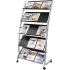 """Alba Large Mobile Literature Display - 350 x Sheet - 5 Compartment(s) - Compartment Size 12.99"""" (330 mm) x 28.35"""" (720 mm) - 65.4"""" Height x 32.3"""" Width x 20.1"""" Depth - Floor - Metal, ABS Plastic - 1"""