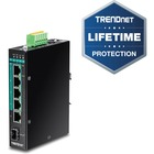 TRENDnet 6-Port Hardened Industrial Gigabit PoE+ Layer 2 Managed DIN-Rail Switch - 5 Ports - Manageable - 3 Layer Supported - Modular - Optical Fiber, Twisted Pair - Rail-mountable - Lifetime Limited Warranty