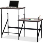 """Safco Bi-Level Stand/Sit Desk - Melamine Laminate Rectangle, Walnut Top - Powder Coated Base - 57.5"""" Table Top Width x 24"""" Table Top Depth x 0.8"""" Table Top Thickness - 50"""" Height - Assembly Required - Black"""