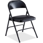 "Lorell Padded Seat Folding Chairs - 4/CT - Vinyl Seat - Powder Coated Steel Frame - 19.4"" Width x 18.3"" Depth x 29.6"" Height - 4 / Carton"