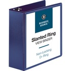 "Business Source D-Ring View Binder - 4"" Binder Capacity - Slant D-Ring Fastener(s) - Internal Pocket(s) - Navy - Clear Overlay, Labeling Area, Lay Flat, Pocket - 1 Each"
