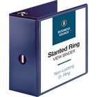 "Business Source D-Ring View Binder - 5"" Binder Capacity - Slant D-Ring Fastener(s) - Internal Pocket(s) - Navy - Clear Overlay, Labeling Area, Lay Flat, Pocket - 1 Each"