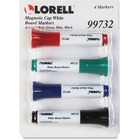 Lorell Magnetic Cap Whiteboard Markers - Assorted - 4 / Set