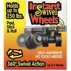 "RollArounds Instant Swivel Wheels - 1.63"" (41.28 mm) Diameter - 113.40 kg - Black - 4 / Set"