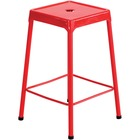 """Safco Steel Counter Stool - Four-legged Base - Red - Steel - 13"""" Seat Width x 13"""" Seat Depth - 17.8"""" Width x 17.8"""" Depth x 25"""" Height - 1 Each"""