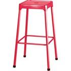 "Safco Steel Bar Stool - Four-legged Base - Red - Steel - 13"" Seat Width x 13"" Seat Depth - 17.8"" Width x 17.8"" Depth x 29"" Height - 1 Each"