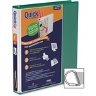 """QuickFit QuickFit Angle D-ring View Binder - 1"""" Binder Capacity - D-Ring Fastener(s) - Internal Pocket(s) - Green - Spine Label, Ink-transfer Resistant"""
