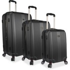 "MANCINI Santa Barbara Carrying Case (Roller) Luggage, Travel Essential - Black - Damage Resistant, Impact Resistant Handle - Acrylonitrile Butadiene Styrene (ABS) - Handle, Telescoping Handle - 3 x Pieces per Set - 13.40"" (340.36 mm) Height x 28"" (711.20"