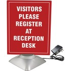 """Artistic 8.5"""" x 11"""" Motorized Two-Sided Rotating Sign Holder Ad Frame, Clear/Silver - 1 Each - 8.50"""" (215.90 mm) Holding Width x 11"""" (279.40 mm) Holding Height - Rectangular Shape - Motorized, Rotating - Clear, Silver"""