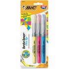 BIC Brite Liner - Chisel Marker Point Style - Blue, Pink, Yellow Water Based Ink - 3 / Pack