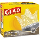 Glad Easy-Tie Kitchen Catchers - Extra Large Size - Clear - Plastic - 20/Pack - Garbage, Office, Kitchen, Bathroom, Bedroom