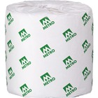 """Metro Paper 2-Ply Bathroom Tissue (BRT48505) - 2 Ply - 3.8"""" x 4.2"""" - White - Paper - Soft, Absorbent, Embossed - For Bathroom - 500 / Roll"""