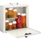 "MMF Standard Steel Medication Case - Combination, Programmable Lock - Wall - Overall Size 9.5"" x 10.8"" x 3.8"" - Platinum - Steel"