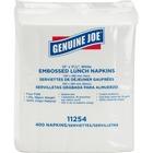 "Genuine Joe 1-ply Embossed Lunch Napkins - 1 Ply - Quarter-fold - 13"" x 11.3"" - White - Embossed, Soft, Versatile - For Lunch Quantity Per Carton - 2400 / Carton"