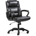 "Sadie Mid-Back Executive Chair - Black SofThread Leather Seat - Black SofThread Leather Back - 5-star Base - 20"" Seat Width x 17"" Seat Depth - 36.5"" Width x 25.6"" Depth x 43"" Height - 1 Each"