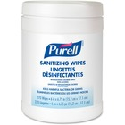 PURELL® Sanitizing Hand Wipes - White, Blue - Alcohol-free, Residue-free, Durable, Lint-free, Pre-moistened - For Hand - 270 Quantity Per Tub - 1 Each
