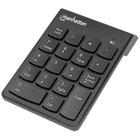 Manhattan Numeric Wireless Keypad, 18 Keys - USB, Wireless, 18 Full-Size Keys, Black