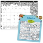 """Blueline Botanica Colouring Monthly Desk Pads - Monthly - January 2021 till December 2021 - 1 Month Single Page Layout - 10 7/8"""" x 17 3/4"""" Sheet Size - Reference Calendar - 1 Each"""