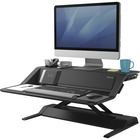 """Fellowes Lotus DX Sit-Stand Workstation - 15.88 kg Load Capacity - 5.50"""" (139.70 mm) Height x 32.75"""" (831.85 mm) Width x 24.25"""" (615.95 mm) Depth - Black"""