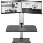 """Victor High Rise Electric Dual Monitor Height Adjustable Standing Desk Workstation - Up to 25"""" Screen Support - 11.34 kg Load Capacity - 20"""" (508 mm) Height x 28"""" (711.20 mm) Width x 23"""" (584.20 mm) Depth - Desktop, Tabletop - Wood, Steel, Aluminum - Blac"""