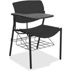 "Lorell Writing Tablet Student Chairs - 2/CT - Powder Coated, Black Tubular Steel Frame - Four-legged Base - Black - Plastic - 21.5"" Width x 25"" Depth x 33"" Height - 2 / Carton"