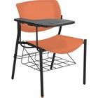 "Lorell Writing Tablet Student Chairs - 2/CT - Powder Coated, Black Tubular Steel Frame - Four-legged Base - Orange - Plastic - 21.5"" Width x 25"" Depth x 33"" Height - 2 / Carton"