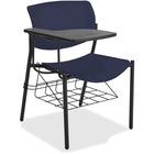 "Lorell Writing Tablet Student Chairs - 2/CT - Powder Coated, Black Tubular Steel Frame - Four-legged Base - Dark Blue - Plastic - 21.5"" Width x 25"" Depth x 33"" Height - 2 / Carton"