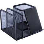 """Lorell Mesh Desktop Organizer - 5.1"""" Height x 5.1"""" Width5.7"""" Length - Desktop - Black - Metal - 1Each"""