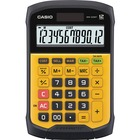 "Casio Simple Calculator - Dual Power, Water Proof, Dust Proof - 12 Digits - Battery Included - 1 - CR2032 - 0.1"" x 0.4"" x 0.7"" - Black, Yellow - Plastic - 1 Each"