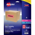 Avery® High Visibility Neon ID Labels - Permanent Adhesive Length - Rectangle - Inkjet, Laser - Neon Red - 25 / Sheet - 1 Total Sheets - 25 / Pack