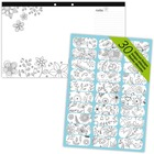 Blueline DoodlePlan Colouring Desk Pad - Black/White - Notes Area, Printed - 1 Each