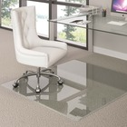 """Deflecto Premium Clear Glass Chairmat - Carpet, Hard Floor - 46"""" (1168.40 mm) Length x 46"""" (1168.40 mm) Width x 0.25"""" (6.35 mm) Thickness - Rectangle - Tempered Glass - Clear"""