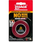 "LePage No More Nails Mounting Tape - 4.9 ft (1.5 m) Length x 0.75"" (19.1 mm) Width - Double-sided, Permanent Adhesive, Water Resistant, UV Resistant - 1 Each"