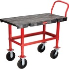 """Rubbermaid Commercial Work-height Platform Truck - Push Handle Handle - 907.18 kg Capacity - 4 Casters - Resin, Metal - 52.1"""" Length x 24.2"""" Width x 40.9"""" Height - Black, Red - 1 Each"""