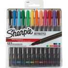 Sharpie Air Pens - Fine Pen Point - 0.8 mm Pen Point Size - Black, Blue, Turquoise, Green, Clover, Yellow, Orange, Coral, Hot Pink, Red, Purple, ... - Black Barrel - 12 / Pack