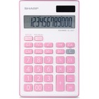 "Sharp 12-Digit Desktop Calculator - Dual Power, Auto Power Off, Built-in Memory - 12 Digits - Battery/Solar Powered - 1"" x 3.8"" x 6.1"" - Pink - 1 Each"