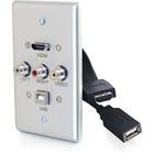 C2G Single Gang USB, Composite and HDMI Wall Plate Aluminum - 1-gang - Brushed Aluminum - Aluminum, Polyvinyl Chloride (PVC) - 1 x HDMI Port(s)